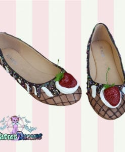 ice cream cake flats strawberry cute pastel dreams handmade kawaii cute