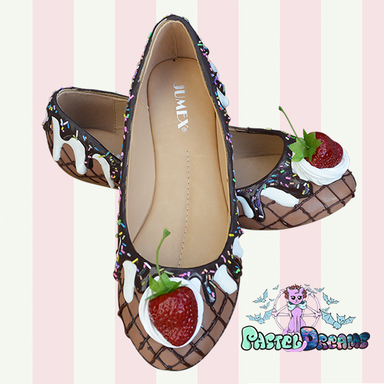 ice cream cake flats strawberry cute pastel dreams handmade kawaii cute