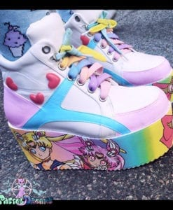 essex glam usagi- chibi moon sailor moon white shoes platforms flatform kawaii pastel goth harajuku cute