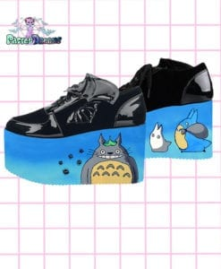 my neighbour totoro platforms trainers shoes blue white cute kawaii pastel dreams handmade harajuku