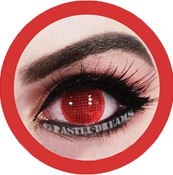 red mesh, red screen theatrical lenses, colored contact lenses cosplay lenses, circle lenses, colored contacts, costume lenses