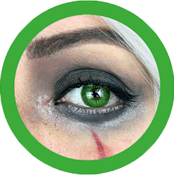 striking green color lenses, cosplay lenses, costume lenses, theatrical lenses,colored contacts