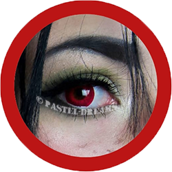 red costume colored lenses, halloween lenses, crazy lenses, red contacts