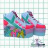 my little pony UV neon retro yru rarity platform trainer shoes on galaxy backgrouns handpainted by pastel-dreams nugoth kawaii harajuku