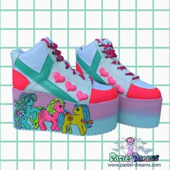 my little pony UV neon retro yru rarity platform trainer shoes on galaxy backgrouns handpainted by pastel-dreams nugoth kawaii harajuku