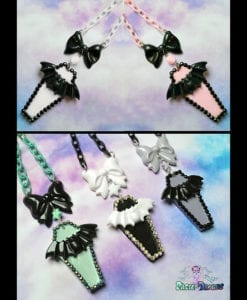 hand cast hand made resin Coffin bat necklaces kawaii fairykei nugoth pastel goth grunge gothic