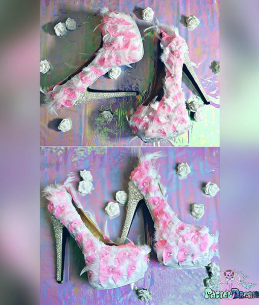 Feathery Camellia high heels featuring crystals,silk petals and feathers kawaii cute bridal wedding shoes