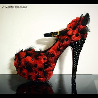 burlesque red feathery rose heels pastel-dreams custom elegant