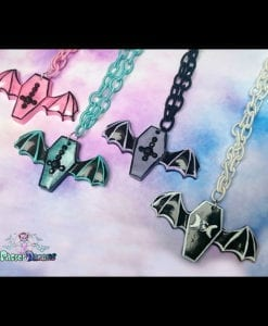 hand cast hand made resin Coffin bat wings necklace kawaii pastel goth nu goth fairykei lolita