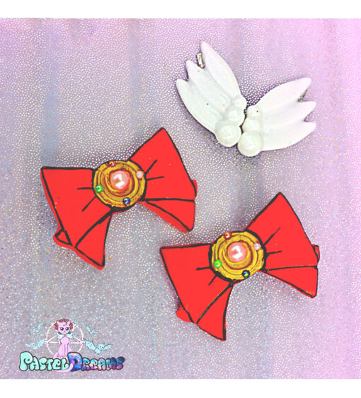 sailor moon hair clips handmade by resin from pastel-dreams