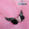 Angelic Heart necklace black - pink fairy kei kawaii accessories pastel lolita pastel goth, harajuku