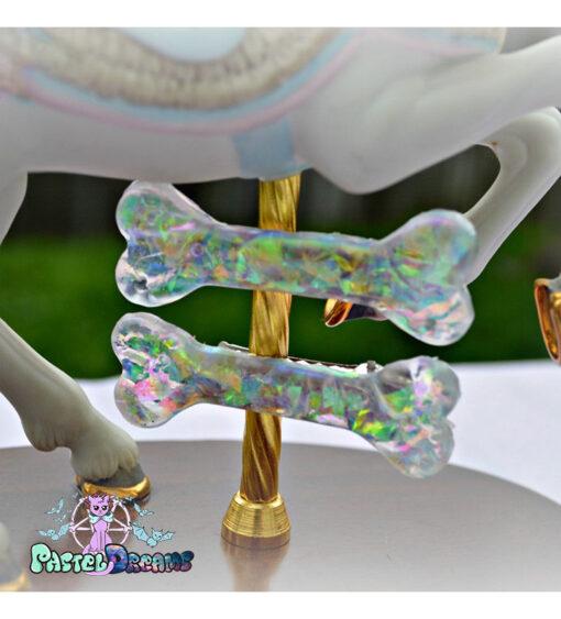Iridescent bone hair clips white fairy kei creepy cute, kawaii, harajuku