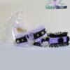 purple black vegan leather choker with frilly trim & ceramic flowers necklace Soft Grunge
