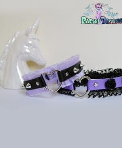 purple black vegan leather choker with frilly trim & ceramic flowers necklace Soft Grunge