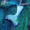 glitter blue-purple mermaid tail kawaii fairykei pastelgoth grunge harajuku fashion resin hanc casted hand made necklace