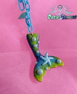 green - yellow mermaid tail kawaii fairykei pastelgoth grunge harajuku fashion resin hanc casted hand made necklace