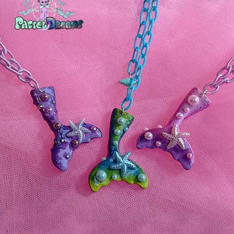 mermaid tail kawaii fairykei pastelgoth grunge harajuku fashion resin hanc casted hand made