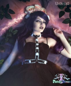 frilly princess lolita vegan leather body harness handmade model @horovonkaida