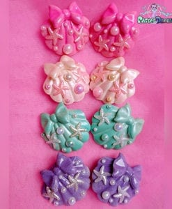 big mermaid Pair shell hair clips Pastel Goth handmade by pastel-dreams