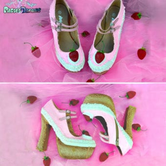 cake shoes daydream strawberry heels pastel dreams custom kawaii cute pink sweet ice cream