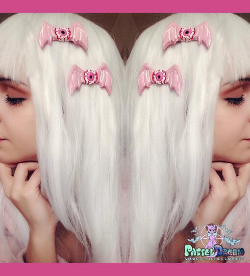Pink and Green Creepy Eyes Hair Clip Halloween Creepy Cute Pastel Gore Goth Hair Clips Kawaii Fairy Kei Hair Clips Girl Clips