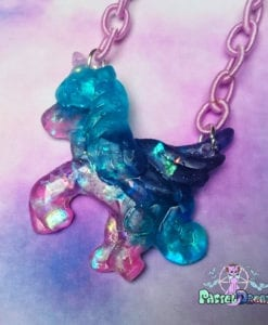 iridescent gummy pegasus unicorn pony necklace Pastel Goth, fairy kei, kawaii, harajuku fashion, japanese fashion