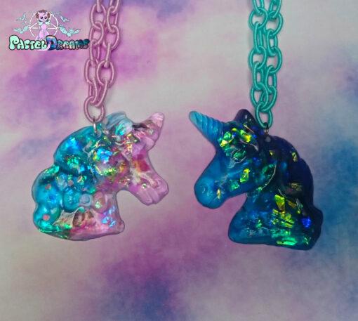 ridescent gummy unicorn pony necklace Pastel Goth, fairy kei, kawaii, harajuku fashion, japanese fashion