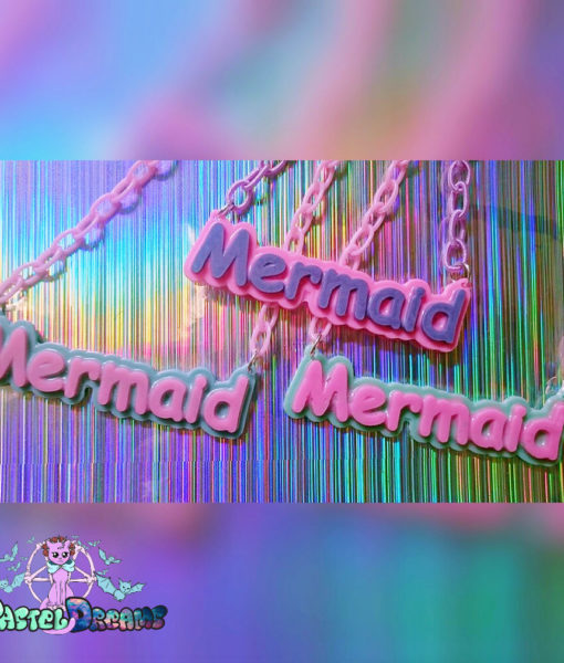 mermaid letters statement necklace Pastel Goth