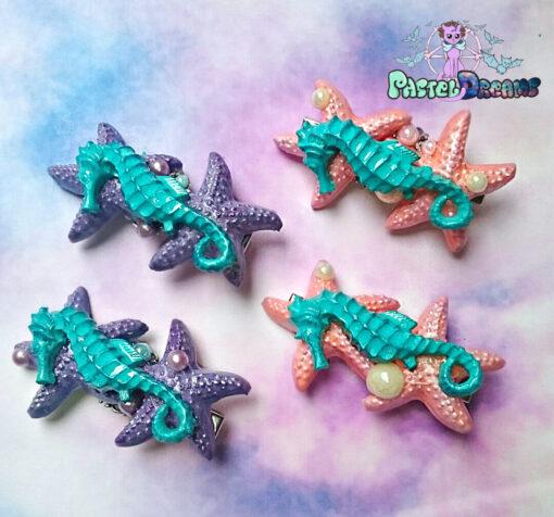 mermaid seahorse starfish Hair Clip Pastel Goth