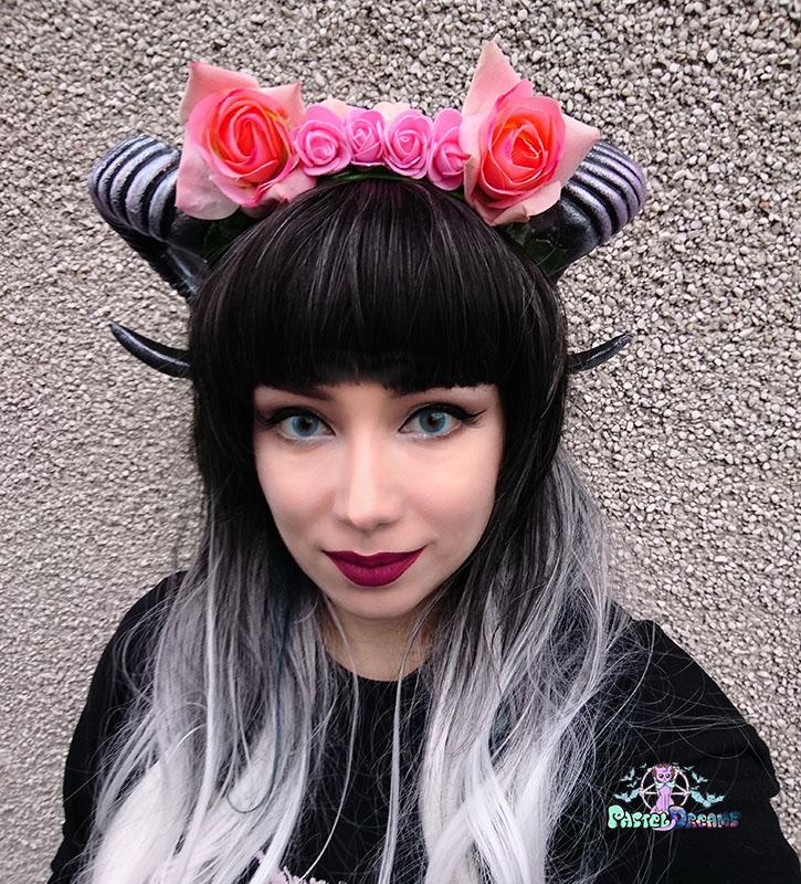 Kawaii Pastel Goth pink wiccan goat ram horns handmade headband, nu goth, harajuku,witch,creepy cute, custom headpiece, fantasy, headband,ram horns