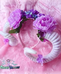 Kawaii Pastel Goth lavender wiccan goat ram horns handmade headband, nu goth, harajuku,witch,creepy cute, custom headpiece, fantasy, headband,ram horns