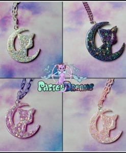 Sailor Moon  iridescent  crescent moon luna cat Necklace or broach  Anime Jewelry