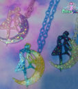 Sailor Moon  iridescent  crescent moon usagi Necklace or broach  Anime Jewelry