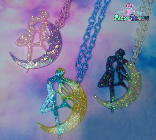 Sailor Moon  iridescent  crescent moon usagi Necklace or broach  Anime Jewelry