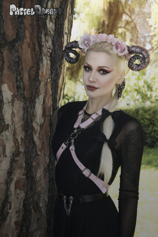 Sexy Pastel Goth witch Body Harness Leather Suspender Straps Belt Soft Grunge