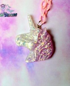 unicorn glittery necklace Pastel Goth