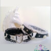 black white vegan leather choker with frilly trim & ceramic flowers necklace Soft Grunge