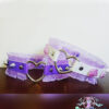 purple white vegan leather choker with frilly trim & ceramic flowers necklace Soft Grunge