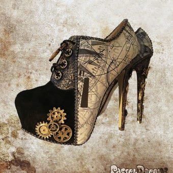 steampunk post apocalyptic ankle boots custom pastel dreams compass pattern mad max inspired