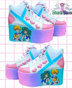 hand painted sailor moon platform shoes trainers yru qozmo neptune and uranus sailor scouts, kawaii,