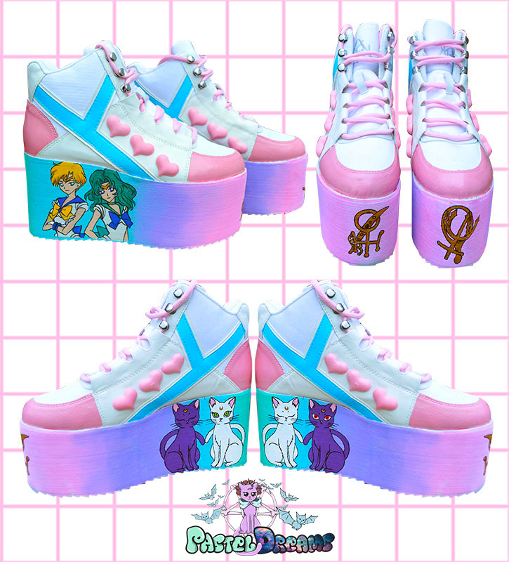 hand painted sailor moon platform shoes trainers yru qozmo neptune and uranus sailor scouts, kawaii, fairy kei, harajuku fashion