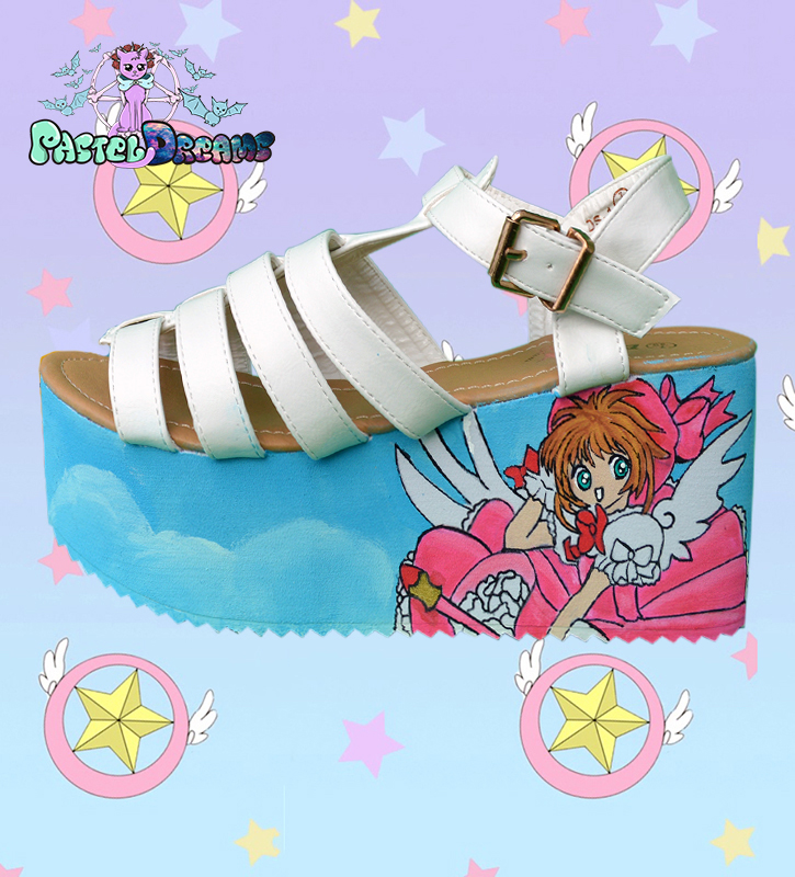 Cardcaptor Sakura hand painted sandals chunky heel platform shoes kawaii anime fairykei