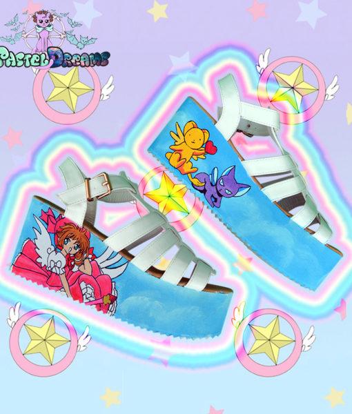 Cardcaptor Sakura hand painted sandals chunky heel platform shoes kawaii anime fairykei
