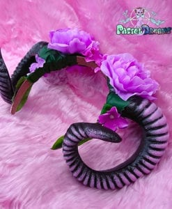 Kawaii Pastel Goth wiccan purple,lavender goat ram horns handmade headband, nu goth, harajuku,witch,creepy cute, custom headpiece, fantasy, headband,ram horns