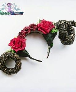 Kawaii Pastel Goth wiccan goat ram horns handmade headband, nu goth, harajuku,witch,creepy cute, custom headpiece, fantasy, headband,ram horns
