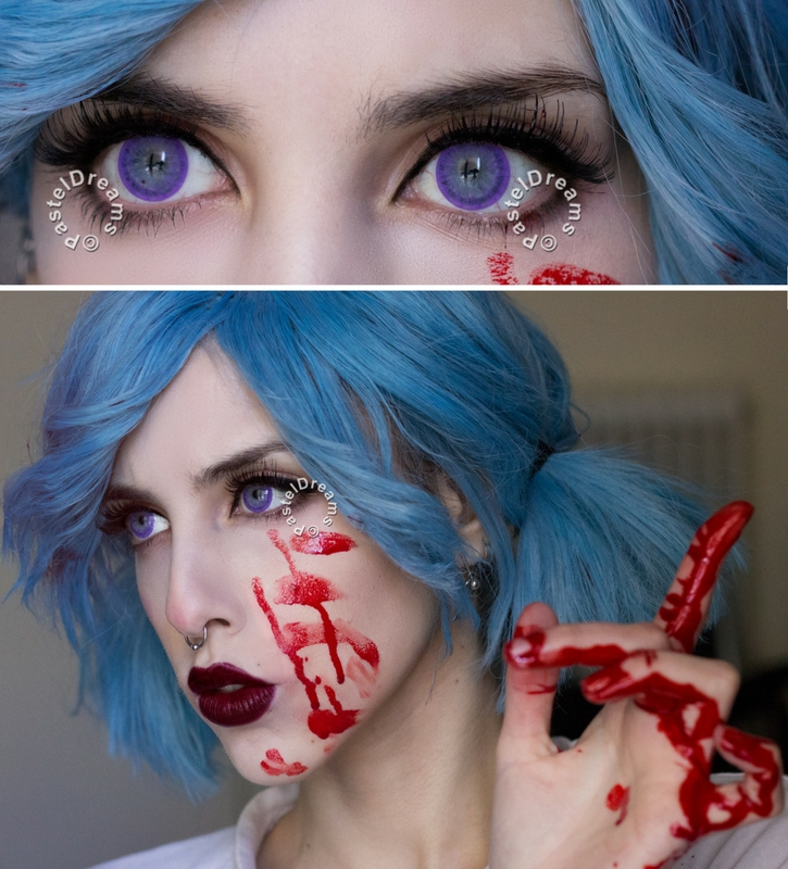 EOS dark ice violet colored contact lenses cosplay lenses, circle lenses, colored contacts, costume lenses
