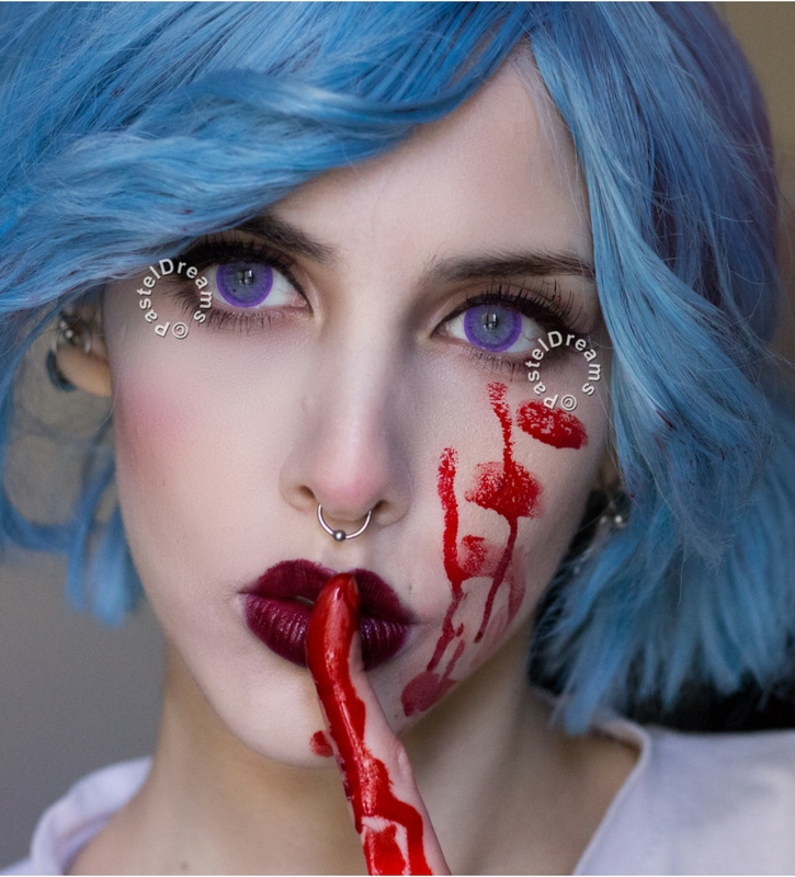eos ice dark violet colored contact lenses cosplay lenses, circle lenses, colored contacts, costume lenses