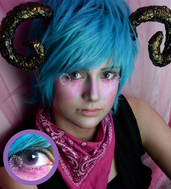 Eos Sole 1T violet colored contact lenses cosplay lenses, circle lenses, colored contacts, costume lenses by eos