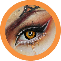 orange werewolf colored contact lenses, halloween lenses, crazy lenses, red contacts, vampire eyes,theatrical lenses