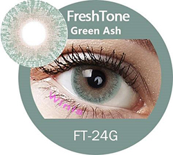 freshtone golden ash -green ash cosmetic contact lenses, circle lenses, colored contacts